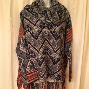 umgee Cowl Neck Sweater with Chevron Print